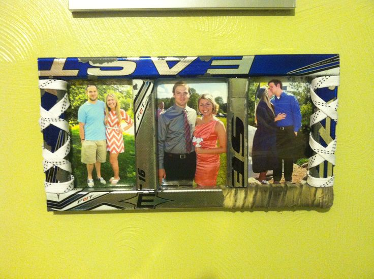 Save your boyfriends old hockey sticks and laces to make picture frames! Just measure and hot glue everything together :)