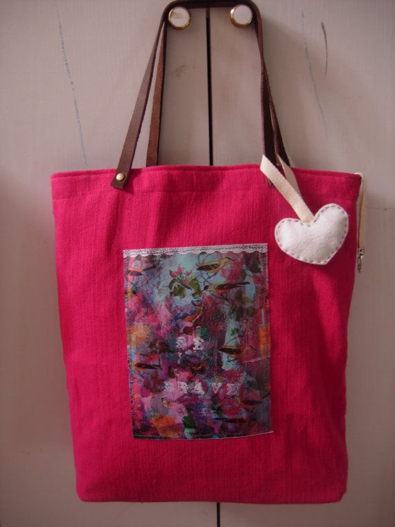 Be Brave  art bag in hot pink/fuchsia and a waterproof by eltsamp, $58.00
