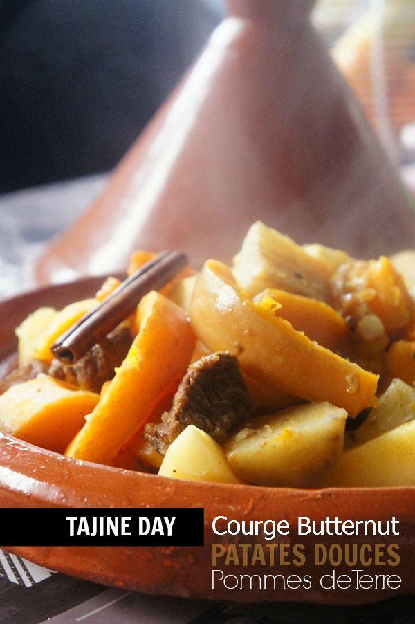 Rien de tel pour se réchauffer et se préparer à la neige prévue pour les jours prochains …. ^^ Ingrédients (4 personnes) : – 1 courge «Butternut» pelée et coupée en morceaux, – 2 patates douces (le même poids que la courge en tout) pelées et coupées en morceaux, – 2 pommes de terre pelées et en morceaux, – 300 g de viande de boeuf en morceaux, – 3 càs d'huile d'olive (huile d'olive crétoise «Terre de Crète»), – 1 oignon, – 1 gousse d'aïl, – 1 bâton de cannelle (ou 1/2 càc de cannelle en…