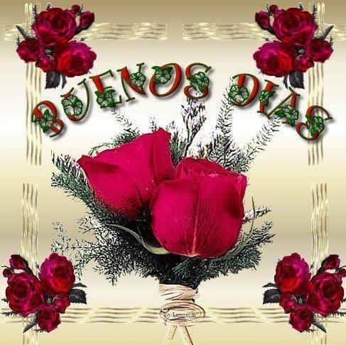 Preciosas rosas junto al mensaje: Buenos Dias