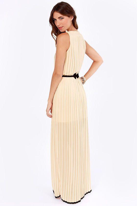 As Pleat as Honey Light Peach Maxi Dress at LuLus.com!