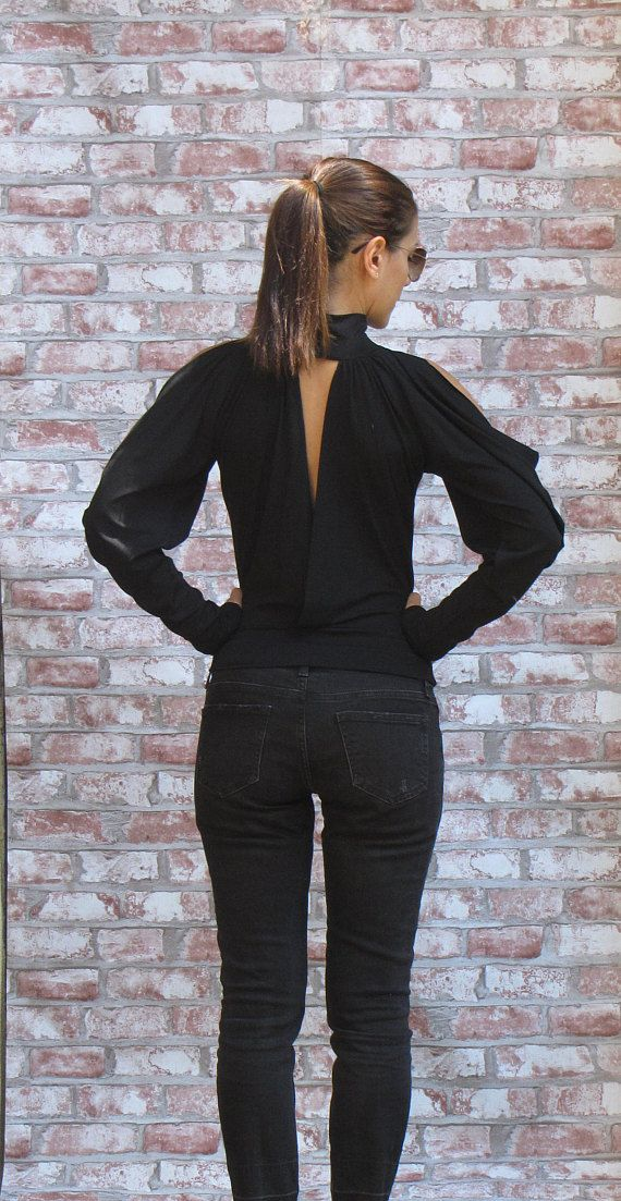 4fc73f4bb3e9a7 Unique Minimalist Black Top • Original Cold Shoulder Designer Blouse •  Party Top with Extra Long Sleeve • Marsiybell Signature Design MB02B en  2019