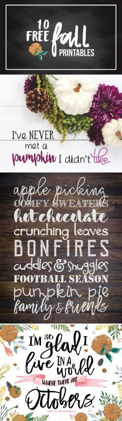10 FREE Fall printables! Update your home decor in an instant with an Autumn wall art printable.