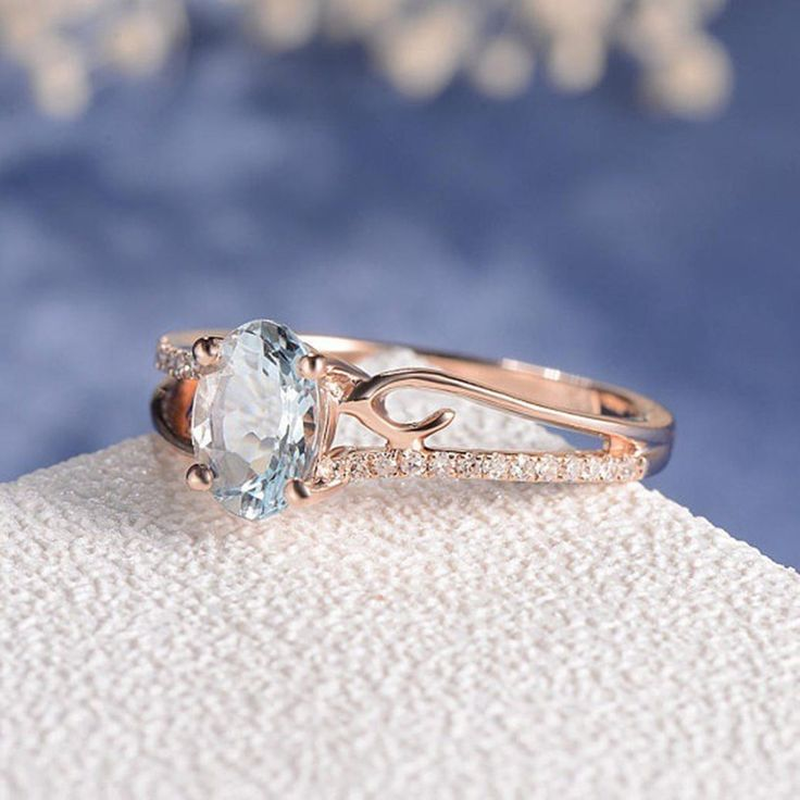 Blue Stone Rose Gold Ring