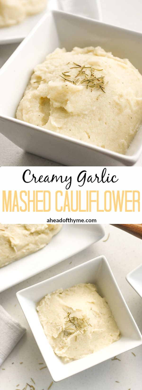Creamy Garlic Mashed Cauliflower: Imagine having a nice big serving of mashed potatoes but with a quarter of the calories. Now you can with creamy garlic mashed cauliflower!   aheadofthyme.com