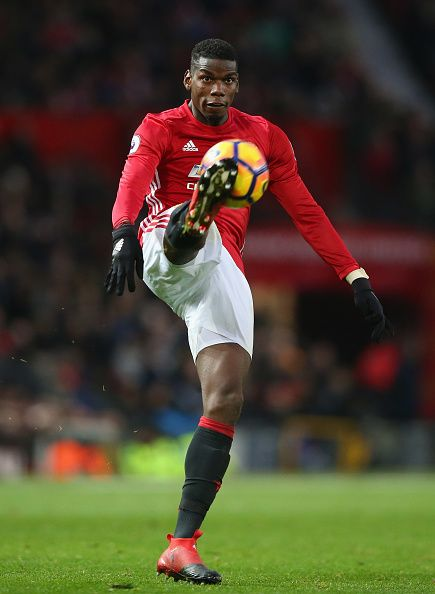 Paul Pogba of Manchester United controls the ball during the Premier League match between Manchester United and Tottenham Hotspur at Old Trafford on...