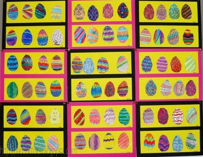 Kids Artists. Easter eggs with lines. Different materials on each Easter egg.