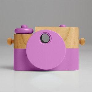 Drewniany aparat fotograficzny - różowy