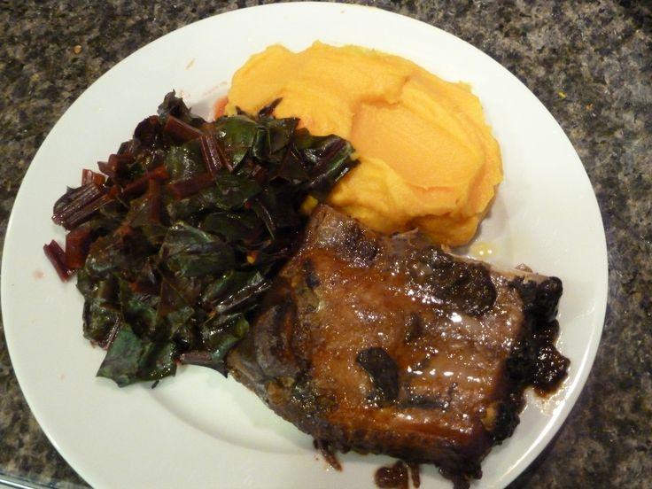Paleo slow cooked pork rib, parsnip/carrot puree, chard; 3 lbs pork ...