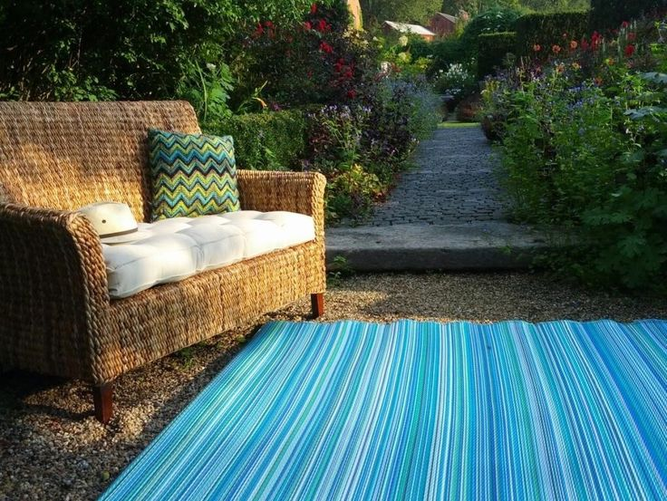 Beautiful Blue Outdoor Patio Rug Large Size