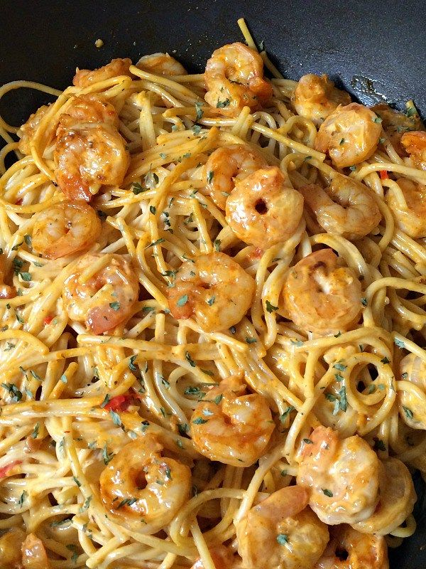 The shrimp is sauteed with garlic, red pepper flakes, and other spices then gently tossed with spaghetti noodles and a spicy sauce. The Bang Bang Sauce is a creamy concoction of mayonnaise, sweet chili sauce, and sriracha sauce. It's spicy yet not too hot, of course you can bump up the heat by adding more sriracha. This meal comes together in the time it takes to cook the pasta.
