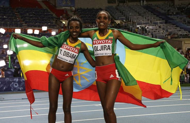 Shinning Victory For Tirunesh Dibaba Og Belainesh Oljira På Moskva 2013 verden Atletik-5749