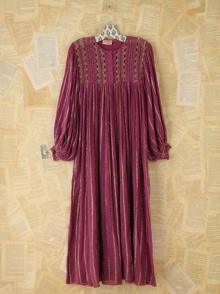 Free People Vintage Metallic Striped Boho Dress