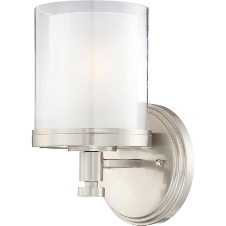 Nuvo lighting decker single light bathroom fixture with clear and froste brushed nickel indoor lighting bathroom fixtures bathroom sconce