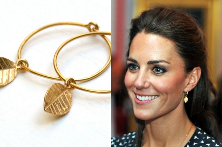 Kate Middleton Gold Leaf Earings - The Princess Earrings. $39.00, via Etsy.