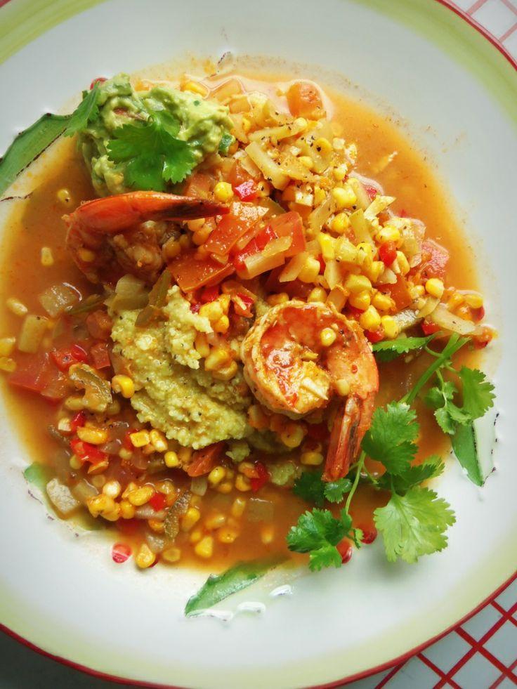 Sémola de Maíz con Camarones (Shrimp n Grits with Fresh Corn & Chayote) - Hispanic Kitchen#.UsiL3VWA3IU