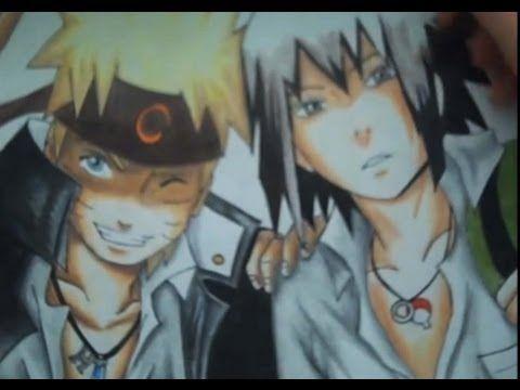 Drawing naruto and sasuke (khs) - YouTube