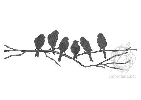 Birds Machine Embroidery Design Instant Download Five