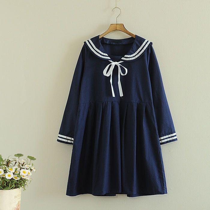 Cute japanese sweet navy dress