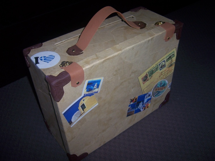HOMEMADE Suitcase-eurotrip in a box theme (gift box paper mache with brown paper & printed europe scenic photos, foam paper for corners & handles, golden buttons & buckles)