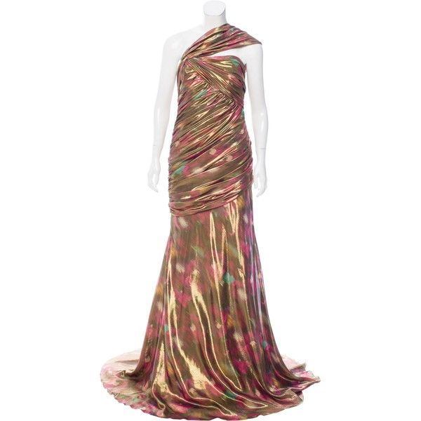Pre-owned Carmen Marc Valvo One-Shoulder Metallic Gown ($275) ❤ liked on Polyvore featuring dresses, gowns, gold, one shoulder gown, gold gown, white gold dress, gold corset and metallic gown