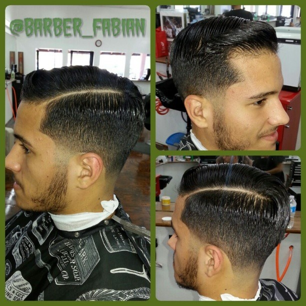barber shop haircuts for men taper fade sidepomp at the barber shop 6185 | 7ff8975bb5a436e9c9176581b81db01e barber haircuts mens haircuts