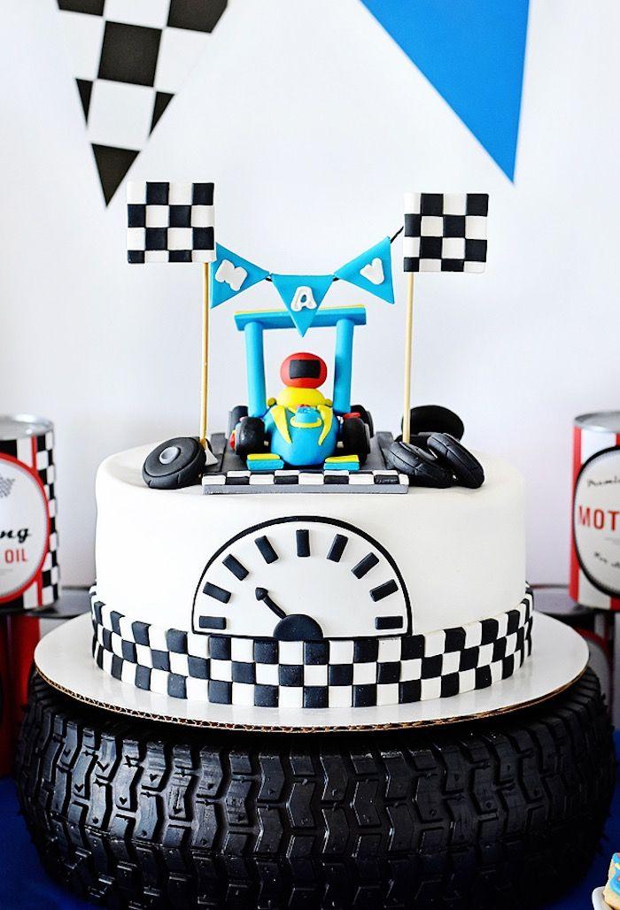 Race car birthday cake from a Race Car Birthday Party on Kara's Party Ideas | KarasPartyIdeas.com (43)