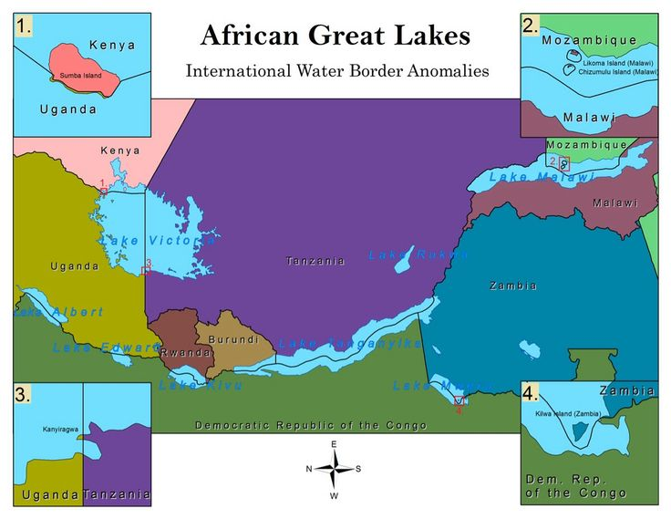 Unusual borders in the African Great Lakes.