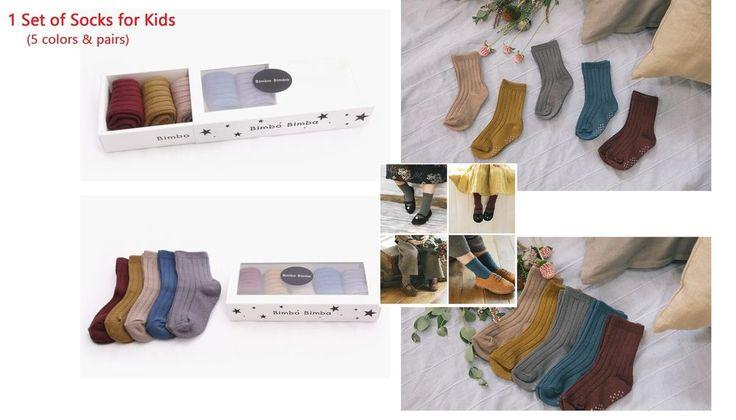 1 Set (5 Pairs) Kids Socks Stylish Fashionable Unisex 5 colors High Quality #BimboBimba