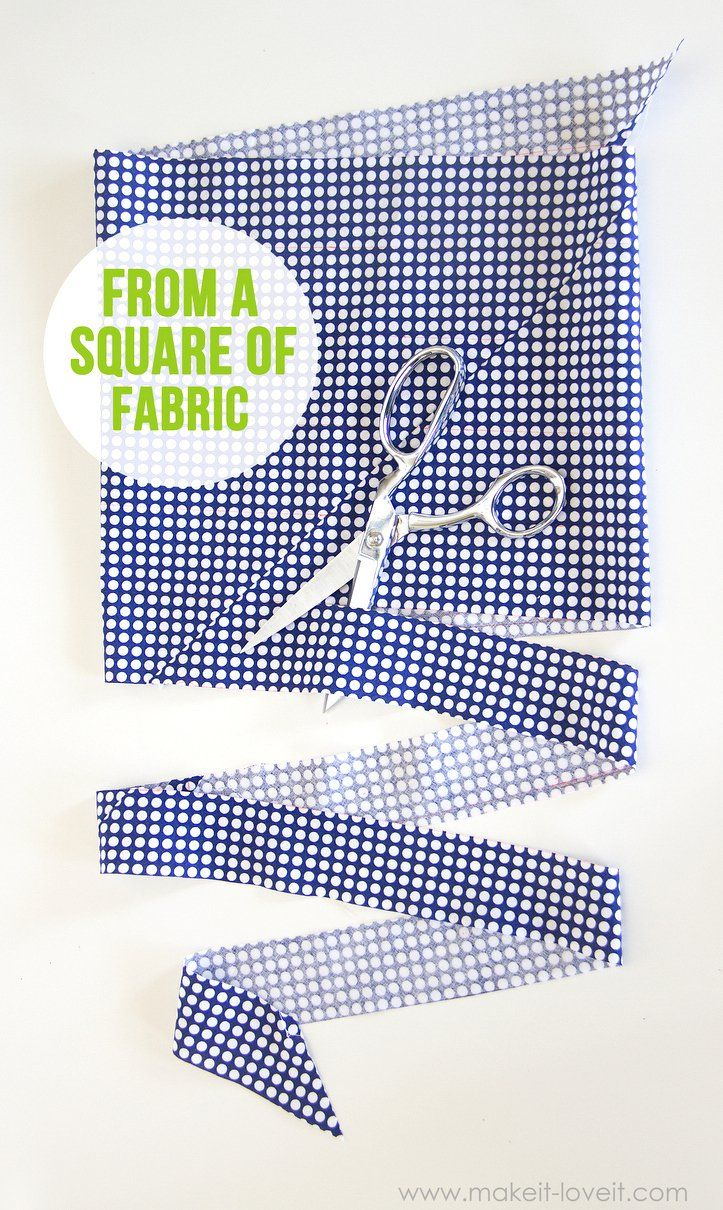 Cut a CONTINUOUS strip of BIAS TAPE (from one small square of fabric)....a quick way to cut up some bias tape, without wasting fabric!