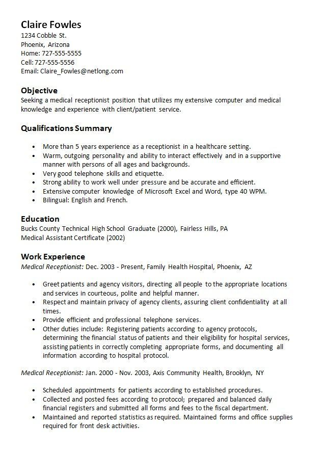 ResumeExamplesFree | Resume Examples Free | Medical receptionist ...