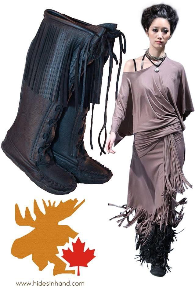 """16"""" fringe Mukluk boot! #leather #Canada #handmade #rockwood #ontario #like #daily #fashion #hidesinhand #style #mukluk #boot #fringe"""
