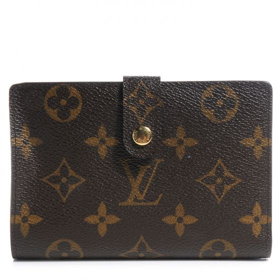 This is a fabulous LOUIS VUITTON Monogram French Purse Wallet.   This classic wallet is crafted of Louis Vuitton monogram coated canvas with a snap closure that opens to a cross grain leather interior.