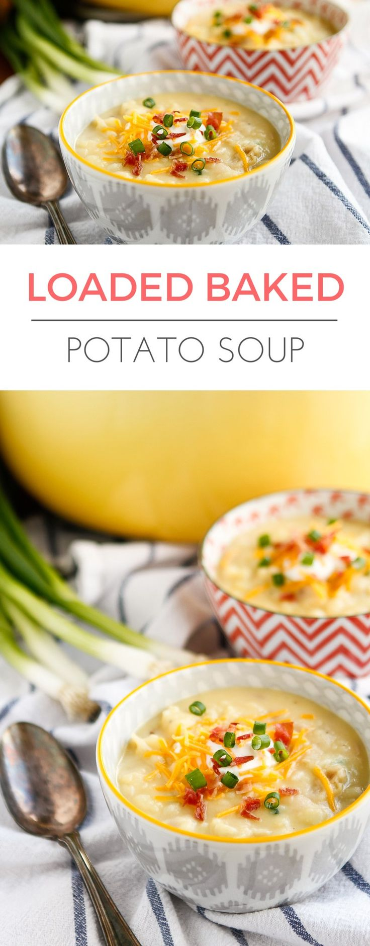 Loaded Baked Potato Soup -- filled with cheddar cheese, bacon, green onions, and sour cream, this simple baked potato soup recipe is full of flavor and can be ready to serve in under 30 minutes! | via @unsophisticook on unsophisticook.com