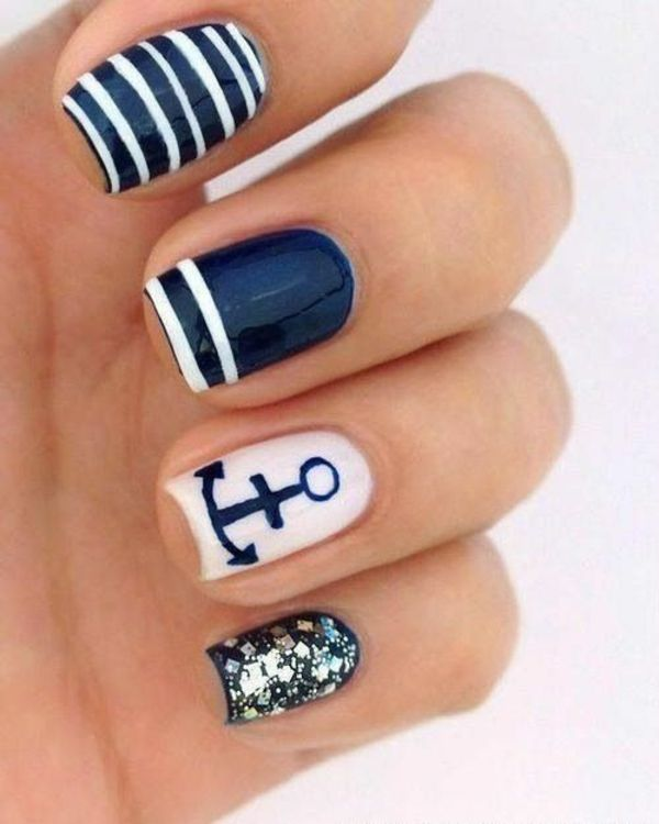 nail art streifenmuster anker