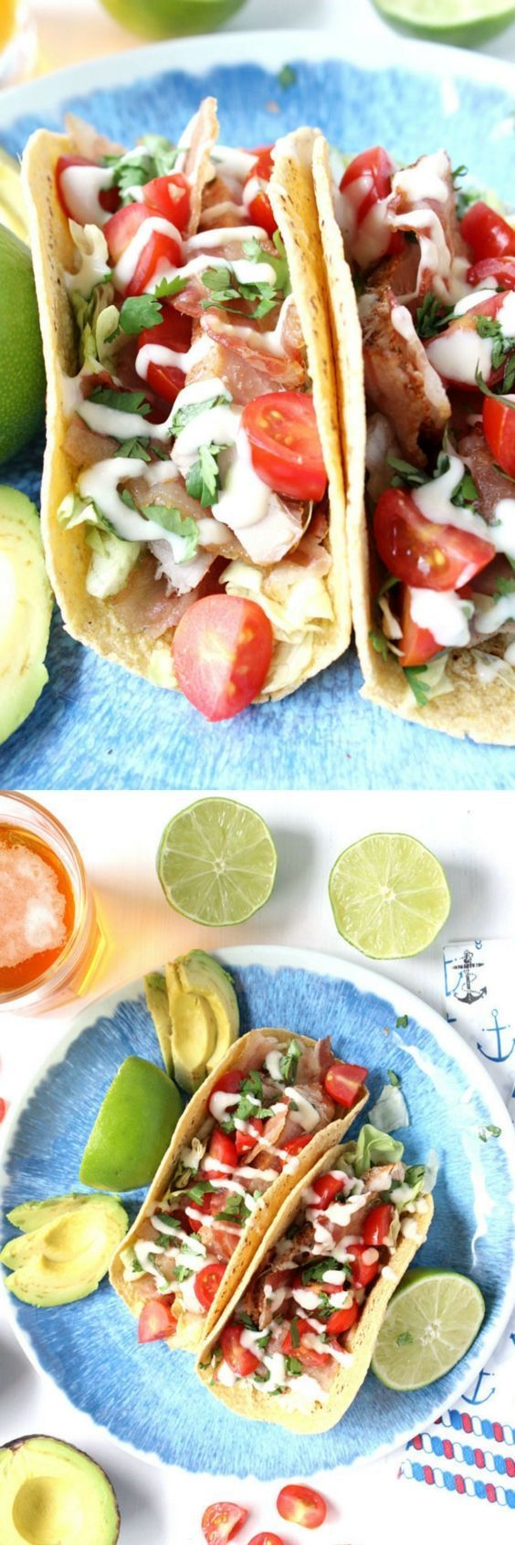 Perfect for summer, these quick & easy BLT Tuna Tacos w/ Lime Aioli Drizzle are portioned for two and ready in just 20 minutes! | taco night, Taco Tuesday, fish tacos, street tacos, easy summer dinner idea, fish recipe