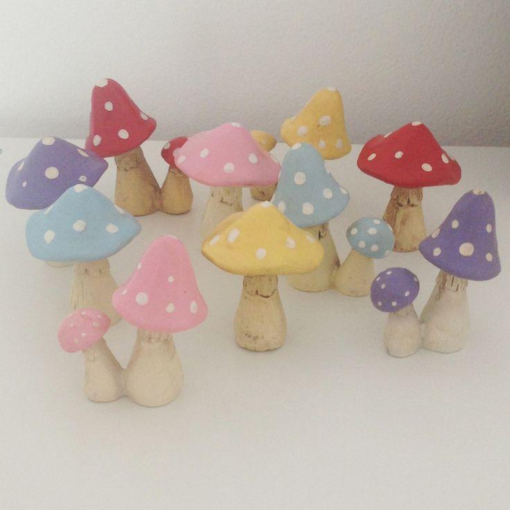 Pale blue little mushroom / toadstool ornament set | room to decorate | scandinavian and vintage designed homewares - online shop