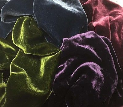 This is our luscious silk/rayon velvet fabric. This Victorian colors sample set includes one 6 inch by 45 inch piece of each color: maroon, ocean blue, green gold, and aubergine. Please feel free to r
