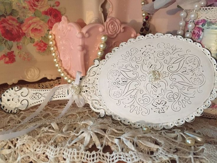 White Shabby Chic Vanity Handheld Mirror Vintage Style Boudoir Decor Decorations