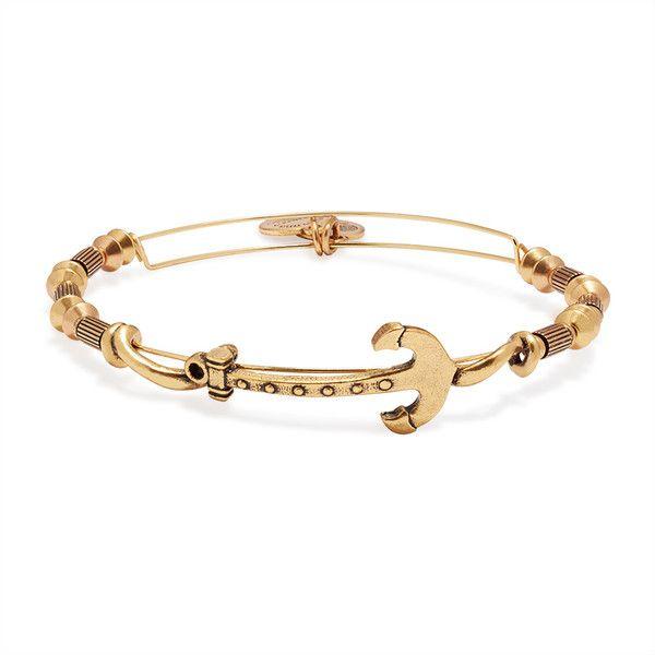 Anchor Horizontal Bangle, RAFAELIAN GOLD Finish ($20) ❤ liked on Polyvore featuring jewelry, bracelets, rafaelian gold finish, anchor jewellery, alex and ani jewelry, alex and ani, alex and ani bangles and bangle jewelry