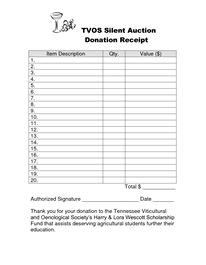 silent auction receipt template akba katadhin co