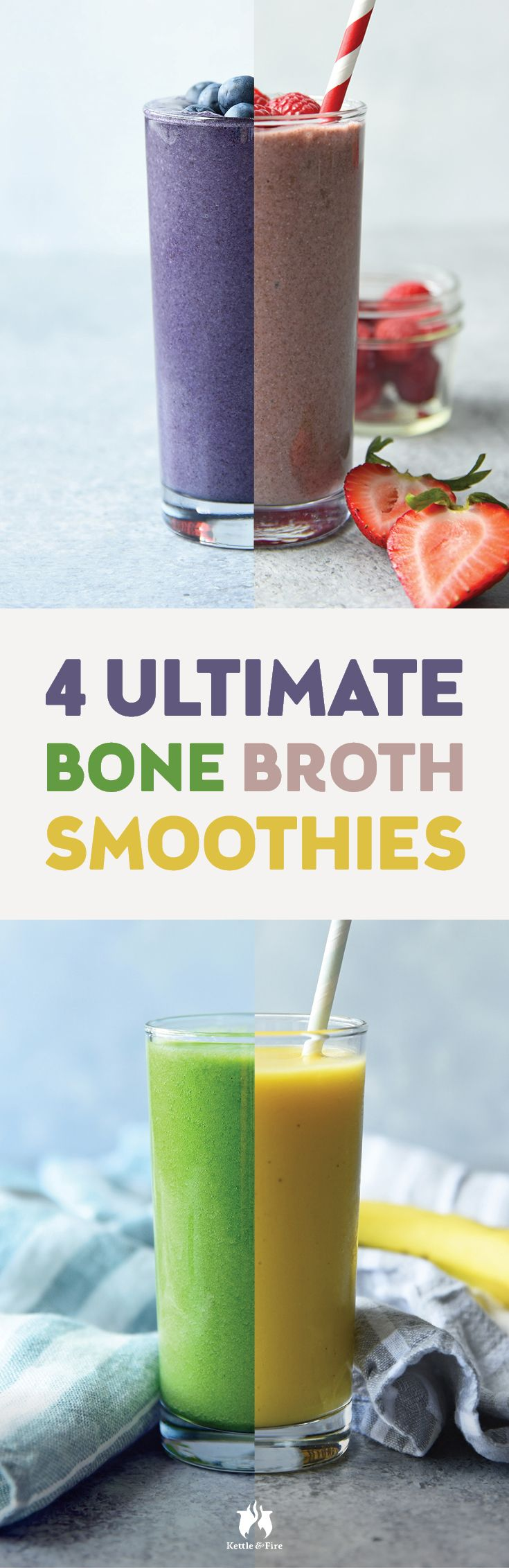 Keep up your healthy bone broth intake during the summer months with these 4 ultimate bone broth smoothies. Recipe video included!
