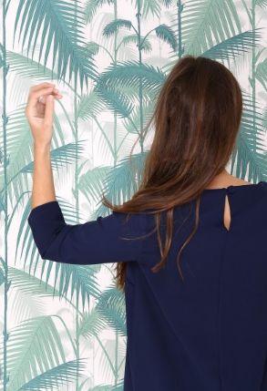 Vestido recto azul marino con mangas 3/4 LUCIE ANDRÉ | Confección de vestidos únicos y a medida | Chile