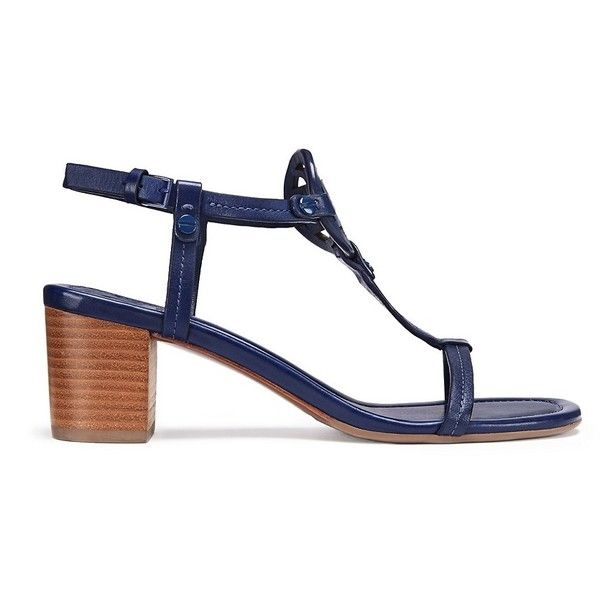 Tory Burch Miller Mid-Heels Sandals, Leather ($265) ❤ liked on Polyvore featuring shoes, sandals, navy sea, ankle tie sandals, navy heeled sandals, tory burch sandals, heeled sandals and navy ankle strap sandals