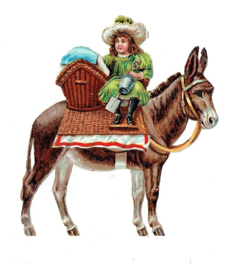 Un chromo - Découpis - Jeune fille, enfant sur un âne - Sans défaut -   fr.picclick.com
