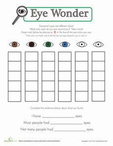 E is for Eye.... Eye Color Chart Worksheet... also good practice for learning to look people in the eye.