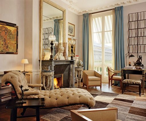 also french. a good room for a retired french psychiatrist or author, possibly a philosopher.: Interior Design, Decor, Jacques Barn, Idea, Living Rooms, Paris Apartments, Livingroom, Interiors, Lounge Chair