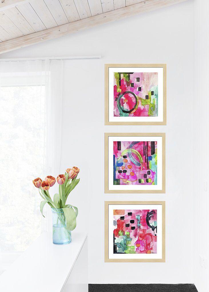 Pink Flamingo Abstract Gallery Wall Sets Wall Art Prints