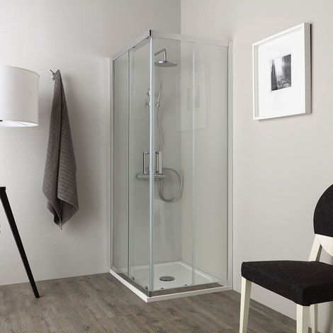 Cabine de douche economique verre 4 mm 70x90 profil chrome