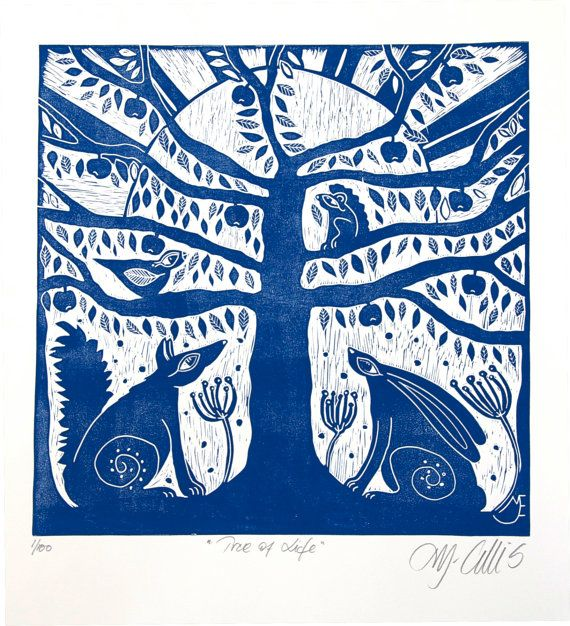 The tree of life, silhoutted against a sunrise, printed in a warm cobalt blue.  This large blue and white linocut, is printed on a warm white